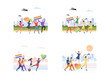 Gay pride parade set. LGBT people walking with rainbow placards, hearts, flags. Flat vector illustrations. Pride march concept for banner, website design or landing web page