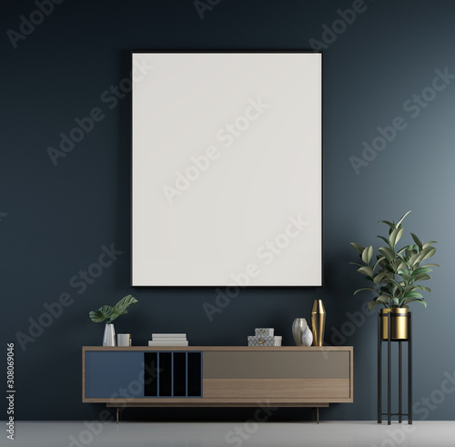 Leinwanddruck Bild - teeraphan : Modern loft living room and blue wall texture background and picture fame interior design / 3D rendering