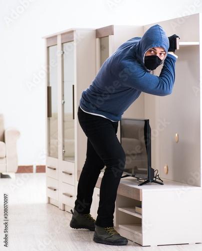 Fototapeta  Man burglar stealing tv set from house