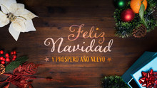 """""""Feliz Navidad Y Prospero Año Nuevo""""  T.i. Merry Christmas And Happy New Year In French Language On A Wooden Background With Decoration Vertical View For Smartphone Digital Wishes Messages. 16:9 Size."""