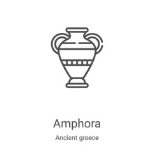 Amphora Icon Vector From Ancient Greece Collection. Thin Line Amphora Outline Icon Vector Illustration. Linear Symbol For Use On Web And Mobile Apps, Logo, Print Media