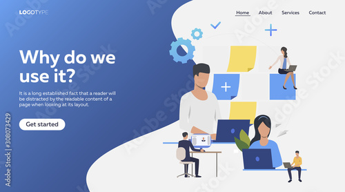 Obraz Professionals working on laptop. Freelance team, teamwork, note board flat vector illustration. Communication concept for banner, website design or landing web page - fototapety do salonu