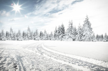 Winter Background Of Road And ...