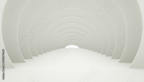 3D Illuminated corridor interior design. Fototapeta