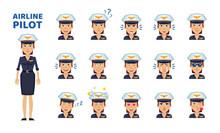 Set Of Female Pilot Emoticons....