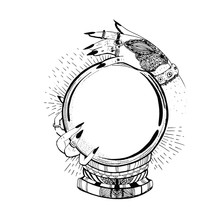 Hand Drawn Black Illustration Of  Fortune Telling Ball, Crystal Ball Gazing With Hand