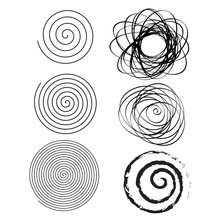 Set Of Line In Circle Form. Single Thin Ribbon Spiral Goes To Edge Of Canvas