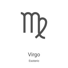 Virgo Icon Vector From Esoteric Collection. Thin Line Virgo Outline Icon Vector Illustration. Linear Symbol For Use On Web And Mobile Apps, Logo, Print Media