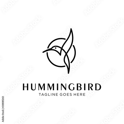Fotografia flying bird logo design template with linear concept style