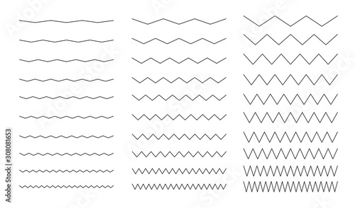 Set of wavy, sinuous seamless simple lines Wallpaper Mural