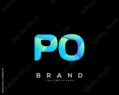 Initial letter PO logo with colorful, letter combination logo design for creative industry, web, business and company Canvas Print