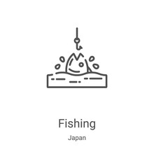 Fishing Icon Vector From Japan Collection. Thin Line Fishing Outline Icon Vector Illustration. Linear Symbol For Use On Web And Mobile Apps, Logo, Print Media