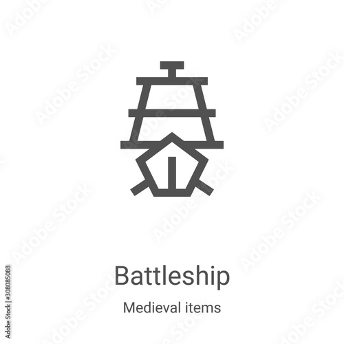 battleship icon vector from medieval items collection Canvas Print