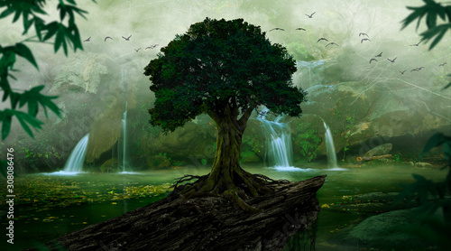 Tropical landscape with mist and waterfalls - 308086476