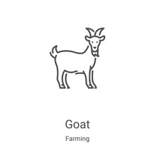 Goat Icon Vector From Farming Collection. Thin Line Goat Outline Icon Vector Illustration. Linear Symbol For Use On Web And Mobile Apps, Logo, Print Media