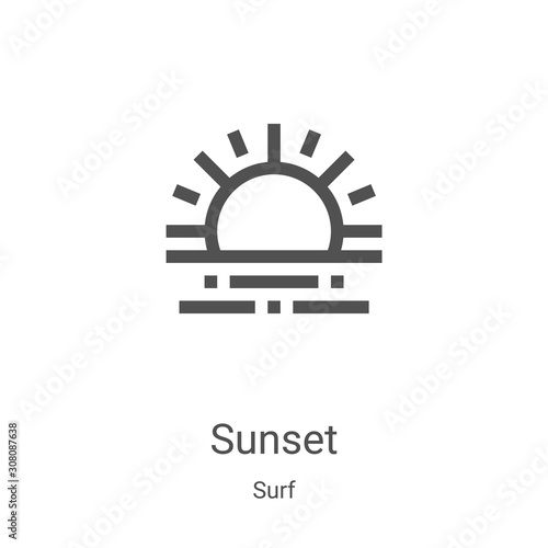 sunset icon vector from surf collection thin line sunset outline icon vector illustration linear symbol for use on web and mobile apps logo print media buy this stock vector and explore fotolia