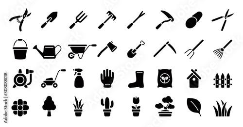 Gardening Icon Set (Flat Silhouette Version)