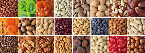 assorted nuts and dried fruit collection. colorful vegan food background