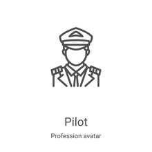 Pilot Icon Vector From Profession Avatar Collection. Thin Line Pilot Outline Icon Vector Illustration. Linear Symbol For Use On Web And Mobile Apps, Logo, Print Media
