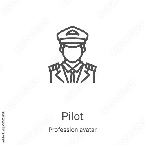 Photographie pilot icon vector from profession avatar collection