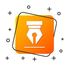 White Fountain Pen Nib Icon Isolated On White Background. Pen Tool Sign. Orange Square Button. Vector Illustration