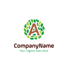 Initial A Nature Leaf Logo. Letter A And Rounded Leaves Concept Design Vector Template Illustration. Natural, Eco Company, Garden Park, Real Estate Symbol Icon