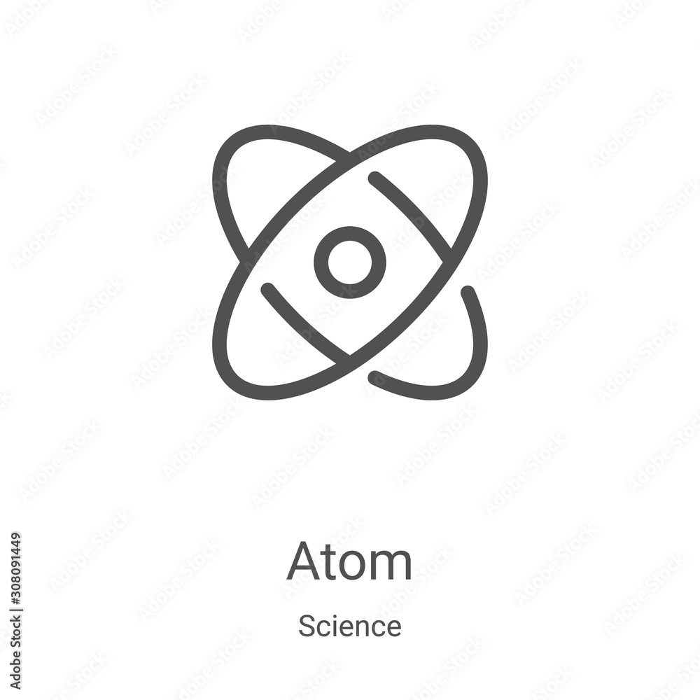 Fototapeta atom icon vector from science collection. Thin line atom outline icon vector illustration. Linear symbol for use on web and mobile apps, logo, print media