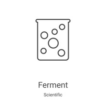 Ferment Icon Vector From Scientific Collection. Thin Line Ferment Outline Icon Vector Illustration. Linear Symbol For Use On Web And Mobile Apps, Logo, Print Media