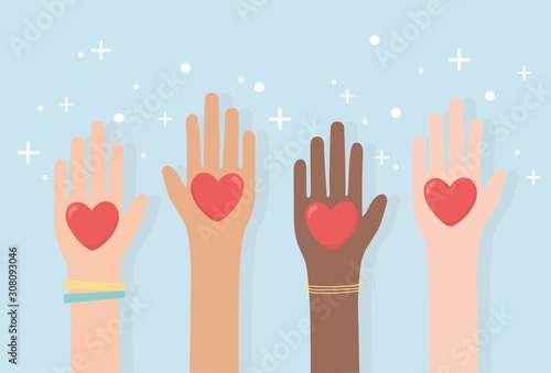 Obraz human rights, raised hands diversity with hearts love - fototapety do salonu