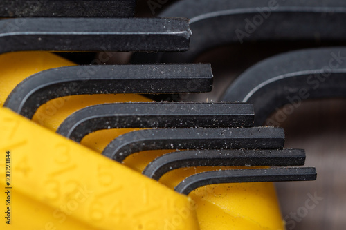 Photo Allen wrench set black yellow and dirty SAE