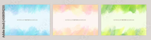 Set of colorful vector watercolor backgrounds with white space for text Canvas Print