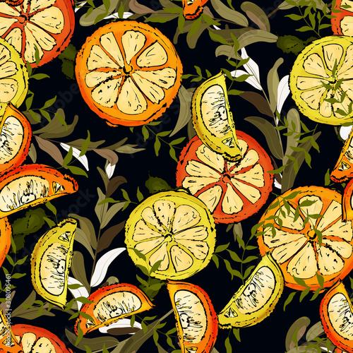 dzungla-w-tropikach-druk-plazowy-vintage-pozostawic-wzor-owocow-w-recznie-rysowane-stylu-akwarele-polowki-i-plasterki-pomaranc