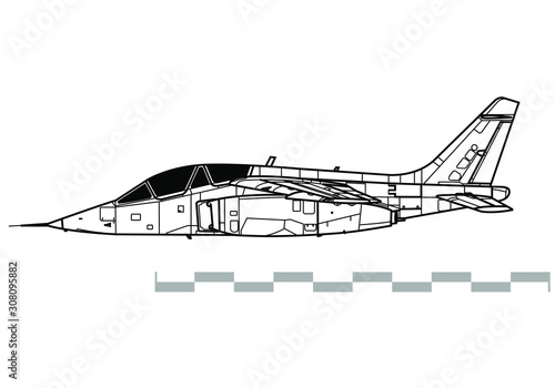 Dassault-Dornier Alpha Jet. Outline vector drawing Canvas Print