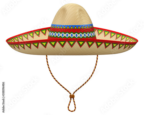 Papel de parede Mexican sombrero hat isolated on white background - 3D illustration