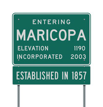 Vector Illustration Of The Entering Maricopa Green Road Sign