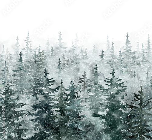 watercolor-winter-pine-tree-forest-background-hand-painted-conifer-spruce-trees-with-falling-snow-nature-landscape-scene-with-trees-and-fog-christmas-themed-design