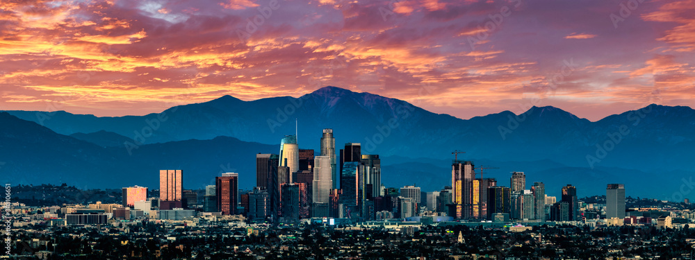Fototapeta Los Angeles Skyline at sunset
