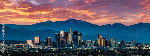 Obraz Los Angeles Skyline at sunset - fototapety do salonu