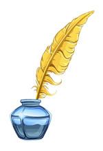 Yellow Feather On The White Ba...