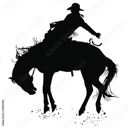 Vector silhouettes of a cowboy riding a bucking bronco horse. Canvas Print
