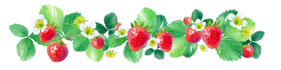 Panel Szklany Popularne 横に並んだイチゴの水彩イラスト、フレーム