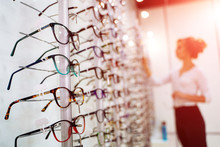 Eyeglasses Shop. Stand With Gl...