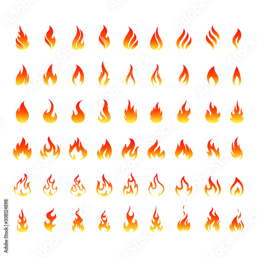 Foto flame icons. Flame logo, fire icon. Vector set of icons for fire.