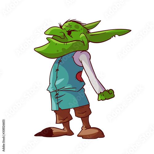 Платно Cartoon green goblin or troll
