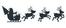 Silhouette Of Santa Claus Slei...