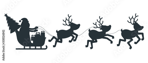 Obraz Silhouette of Santa Claus sleigh and reindeer harness. - fototapety do salonu