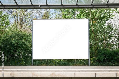 Obraz Black information billboard or timetable located on train (s-bahn, u-bahn) station. Mock up design. - fototapety do salonu