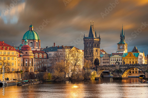 Prague, Czech Republic - The world famous Charles Bridge (Karluv most) with St Canvas Print