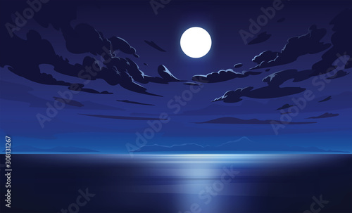Vector night sky clouds. Moonlight. Background design