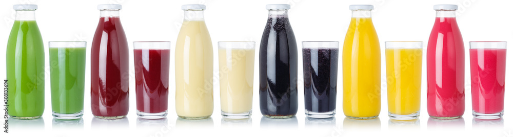 Fototapeta Group of fruit smoothies fruits orange juice drink in glass and bottle isolated on white